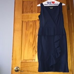 Moschino Navy Blue Ruffle Dress